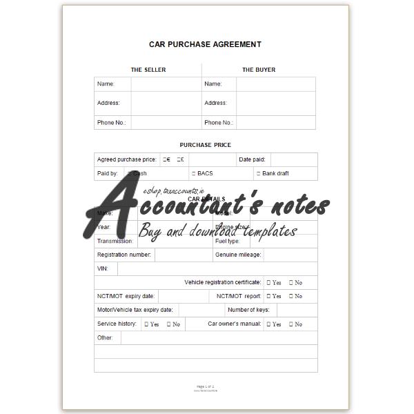 Car Purchase Agreement Accountants eshop – Car Purchase Agreement