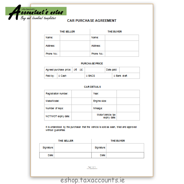 Car Purchase Agreement One Page Accountants E Shop