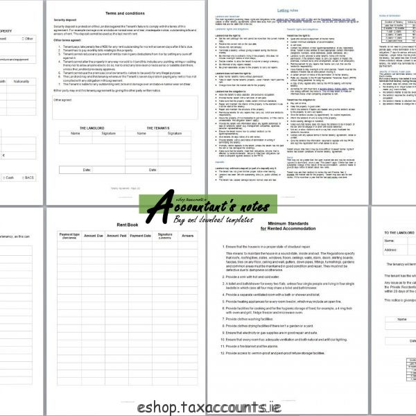 Tenancy Agreement Template Package – Accountant'S E-Shop