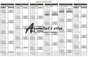 Ireland Payroll Calendar 2015