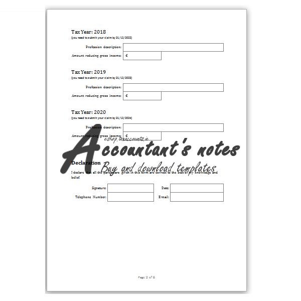 Flat Rate Expenses Claim Template