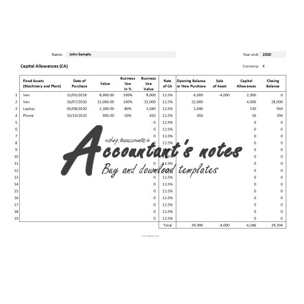 Capital Allowances Template