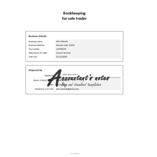 Simple Bookkeeping Spreadsheet