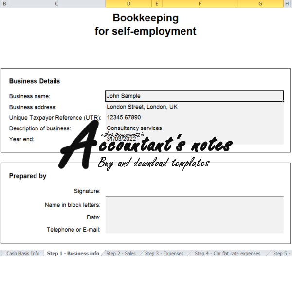 Bookkeeping for self-employment cash basis
