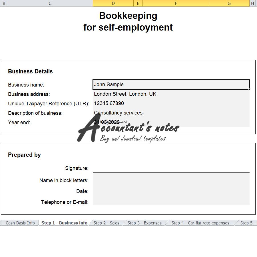 UK Bookkeeping Spreadsheet Template Screenshot